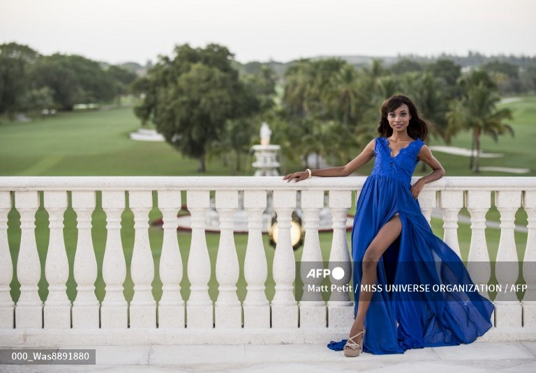 UNITED STATES, Doral : This picture provided by the Miss Universe Organization shows Nale Boniface, Miss Tanzania 2014, posing in her evening gown upon arriving to Trump National Doral Miami on January 4, 2015.